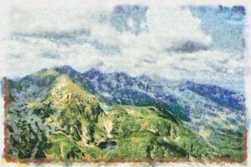Oil painting. Art print for wall decor. Acrylic artwork. Big size poster. Watercolor drawing. Modern style fine art. Beautiful mountain landscape. Grey clouds.