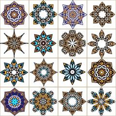 Set mandala ornamental oriental simple icons.The circular pattern. Company logo, mark, emblem, element. Simple geometric logo.