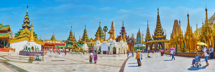 Panorama of Shwedagon complex with Point of Victory, Yangon, Myanmar
