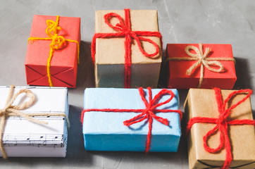 Christmas gifts, winter, children and adult holiday new year.