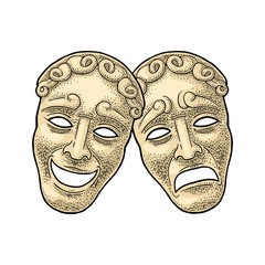 Comedy and tragedy theater masks. Vector engraving vintage color illustration