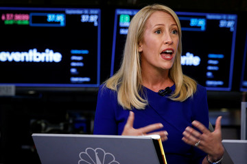 Eventbrite Inc. CEO Julia Hartz speaks during an interview with CNBC following the company's IPO at the NYSE in New York