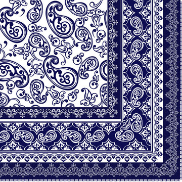Vector ornament paisley Bandana Print, square pattern design style for print on fabric.