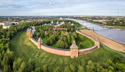 Aerial view of kremlin in Veliky Novgord, Russia