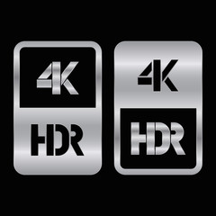4K HDR format silver and cut icon. Pure vector illustration on black background