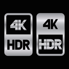 4K HDR format silver icon. Pure vector illustration on black background