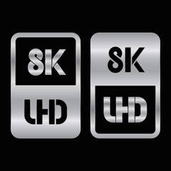 8K Ultra HD format silver and cut icon. Pure vector illustration on black background