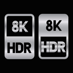 8K HDR format silver icon. Pure vector illustration on black background