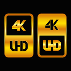 4K Ultra HD format gold and cut icon. Pure vector illustration on black background