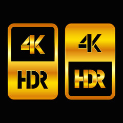4K HDR format gold and cut icon. Pure vector illustration on black background