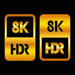 8K HDR format gold and cut icon. Pure vector illustration on black background