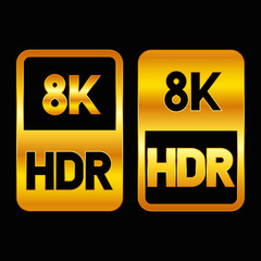 8K HDR format gold icon. Pure vector illustration on black background