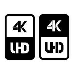 4k Ultra HD format flat and cut black icon. Vector illustration on white background