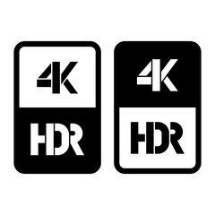 4k HDR format flat and cut black icon. Vector illustration on white background