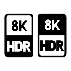 8k HDR format flat black icon. Vector illustration on white background