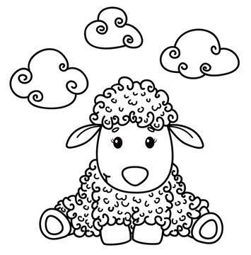 Vector cute sheep cartoon, black silhouette isolated on white for coloring.