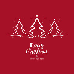christmas trees lettering greetings red background