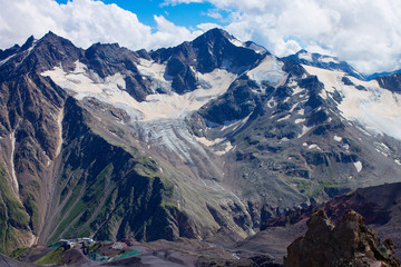 Aerial view from the drone. Glacier among the mountains of the North Caucasus.