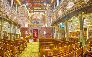 Panorama of interior of St Barbara Church in Cairo, Egypt