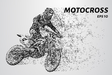Motocross particles. The rider enters the turn.