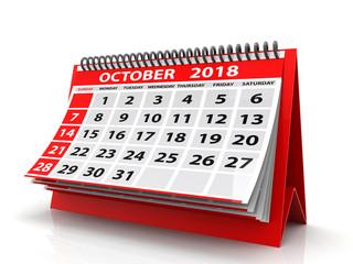 October 2018 Calendar. Isolated on White Background. Spiral Calendar October 2018. 3D Illustration