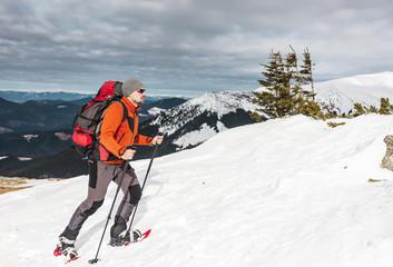 Winter climbing the mountain.
