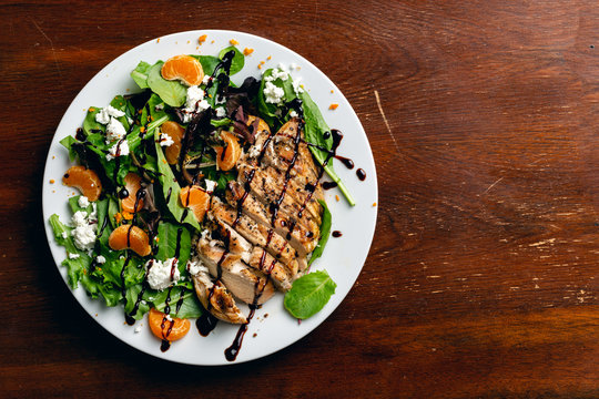 Grilled Chicken Salad Flat Lay