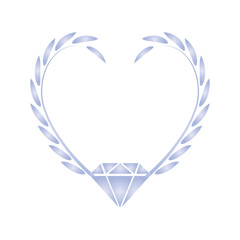 Wreath with heart shape and diamond