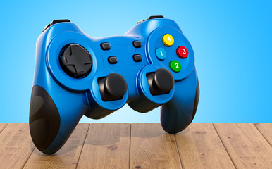 Game controller on the wooden table. 3D rendering