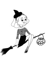 Witch flying on broomstick. Halloween vector. Pumpkin with sweets