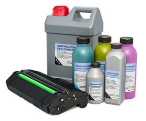 Toner cartridge with colored graphics toner in the bottles, 3D rendering