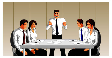 Vector illustration of an angry boss at a business meeting.