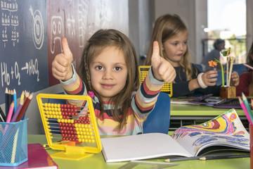 Schoolgirl learning mathematics in classroom