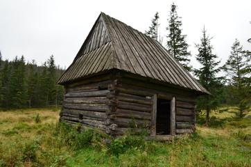 Fototapeta Drewniany szałas góralski - Podhale, Polana pod Kopieńcem obraz