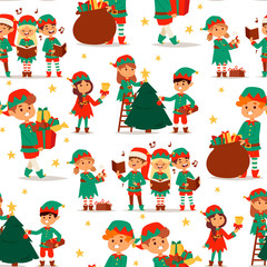 Santa Claus elf kids cartoon elf helpers vector illustration children elves characters traditional costume seamless pattern background