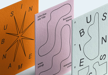 Business Card Layout Set with Quirky Design Elements