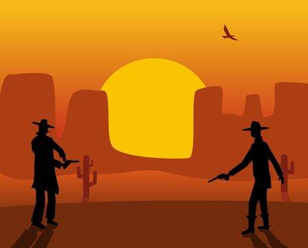 Two gunslingers duel. Desert sunset. Color flat vector illustration.
