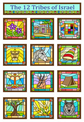 Israel Tribes - Stained glass design of the 12 tribes of Israel. Eps10