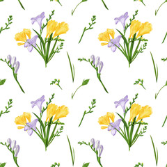 Seamless pattern with colorful freesia flowers and buds. Fabric wallpaper print texture on white background.
