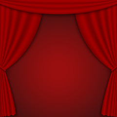 Red open curtains on the stage