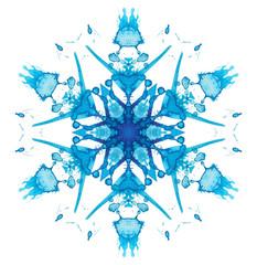 Kaleidoscope watercolor snowflake