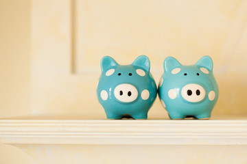 Two Piggy Banks on a shelf