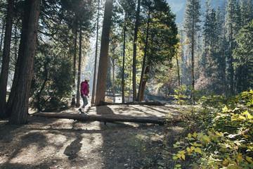 Full length of girl walking on fallen tree in forest at Yosemite National Park