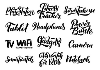 Lettering set - names og gadgets. Phrase about gadgets and technology. Hand drawn elements. Monochrome vector illustration.