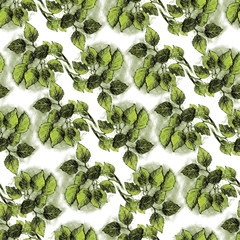 Seamless texture with hand drawn green leaves on white. Repeating pattern with branch with foliage. Can be used as wallpaper, desktop, wrapping, fabric or background for your blog, covers, cards.