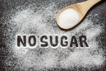 Diet and weight loss, denial of sweet. No sugar text with concept. Sugar description in black. Cooking, sweets. Diabetes problems, harm from eating, dependence on flavoring. Pain in the teeth, caries.