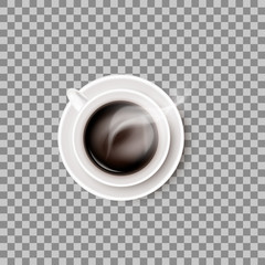 One hot steaming coffee beverage in white ceramic cup or mug on round saucer. Vector realistic object isolated on transparent background