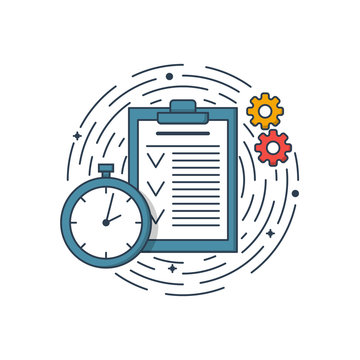 Vector business illustration of blue colors folder page, clock and engineering. Graphic design concept of product managment. Use in Web Project and app. Outline object.