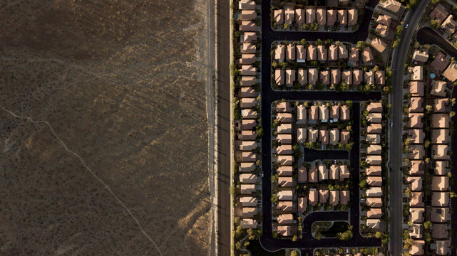 Overhead view of houses on landscape