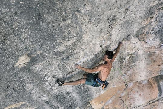 High angle view of man rock climbing outdoors